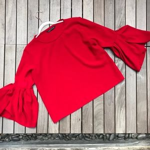 ZARA Woman Red Bell Sleeve Crew Neck Wide Blouse